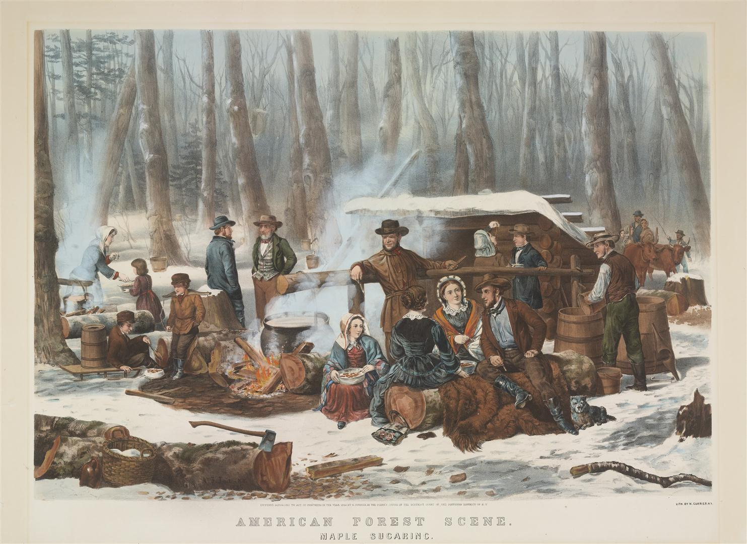 Maple Sugaring, Currier & Ives