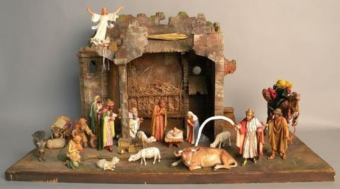 Carved and painted wood Creche